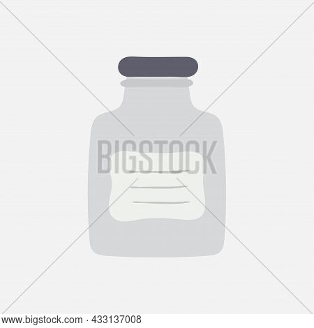Empty Glass Jar With Lid. Glass Jar For Conservation And Canning. Cap Close Blank Mason Bottle. Vect