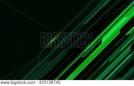 Abstract Green Cyber Circuit Geometric With Blank Space Design Modern Futuristic Technology Backgrou
