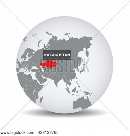 World Globe Map With The Identication Of Kazakhstan. Map Of Kazakhstan. Kazakhstan On Grey Political