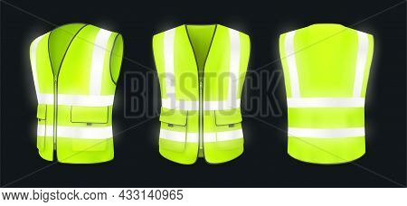 Safety Vest Front, Back View And Side At Night. Yellow, Light Green Jacket With Reflective Stripes.