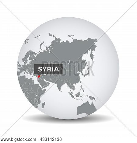 World Globe Map With The Identication Of Syria. Map Of Syria. Syria On Grey Political 3d Globe. Asia