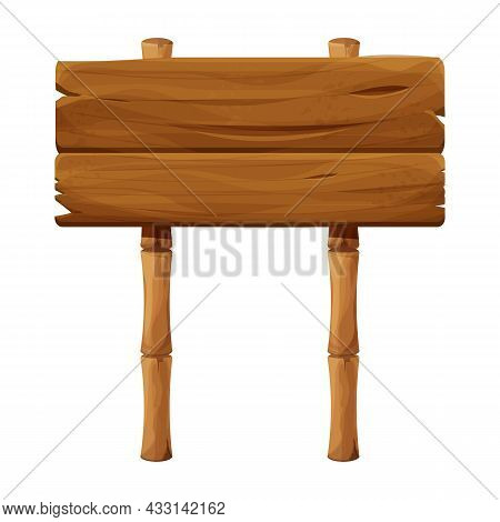 Wooden Signboard With Bamboo Stick In Cartoon Style, Empty Signpost Isolated On White Background. Ui