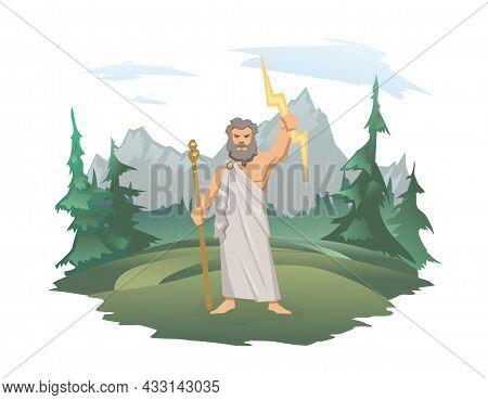 Zeus, The Father Of Gods And Men, Ancient Greek God Of Sky. Ancient Greece Mythology. Vector Illustr