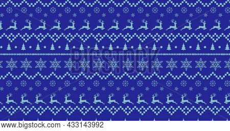 Digital image of traditional christmas pattern with reindeer, christmas tree and star moving against blue background. christmas festivity celebration tradition concept