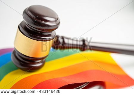 Gavel For Judge Lawyer On Rainbow Flag, Symbol Of Lgbt Pride Month Celebrate Annual In June Social O