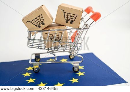 Box With Shopping Cart Logo And Argentina Flag, Import Export Shopping Online Or Ecommerce Finance D