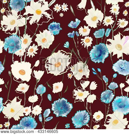 Cute Pattern With Small Blue And White Flowers On Burgundy. Liberty Style. Drawn Floral Seamless Mea