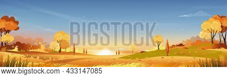 Autumn Rural Landscape In Evening Light With Sunset, Blue And Orange Sky Background,vector Cartoon F