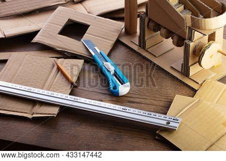 Cardboard craft. Creating gadgets from card board.