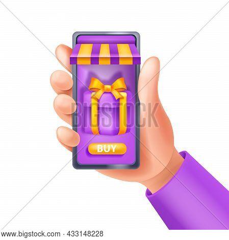 3d Hand Holding Smartphone, Online Shopping Vector Illustration, Loyalty Program App Concept, Gift B