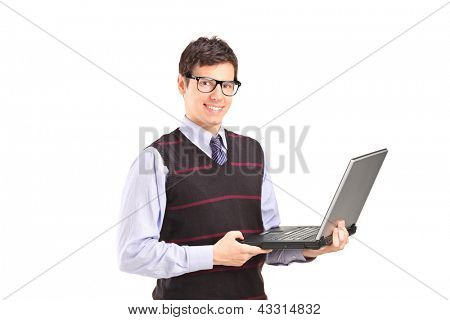 Professional young man holding a laptop isolated against white background