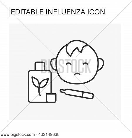 Treatment Line Icon. Child Treatment. Therapy To Reduce Fever. Unhappy Baby Boy. Influenza Concept.