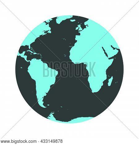 Earth Globe Vector Map Illustration Planet Icon. Sphere Global World Earth Globe Circle Sign. Cartoo