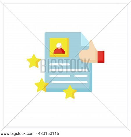 Best Job Resume Flat Icon. High Rating. Best Employment Candidate. Personal Recruitment Information.
