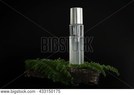 Unbranded Natural Cosmetic Serum Packaging Standing On Stone Podium. Serum Presentation On The Black