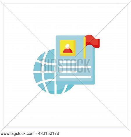 International Resume Flat Icon. Abroad Employment. Foreign Country Employee. Global Job Search. Pers