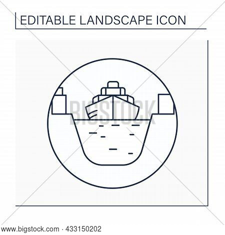 Canal Line Icon.artificial Waterway. Canal Allows Passage Of Boats Or Ships Inland.landscape Concept