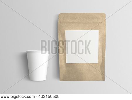 Cafe packaging with coffee bean pouch and paper cup