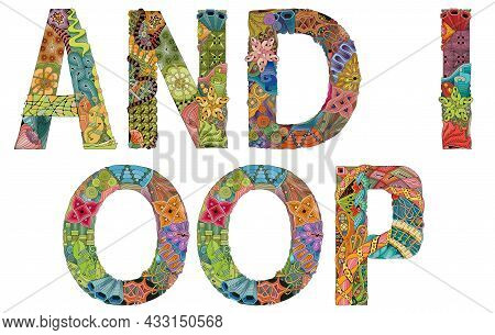 Hand-painted Art Design. Illustration Words And I Oop For T-shirt Design, Tattoo And Other Decoratio