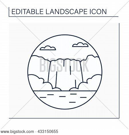 Cascade Line Icon. Small Waterfall. Falls Descending Over A Steep, Rocky Surface.landscape Concept.i