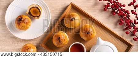 Moon Cake Yolk Pastry For Mid-autumn Festival Holiday.