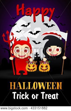 Happy Halloween Trick Or Treat Poster With Kids In Costumes Devil And Grim Reaper. Halloween Greetin
