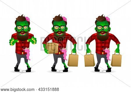 Zombie Hipster Set Isolated On A White Background. Zombie Men Cartoon Style. Vector Illustration