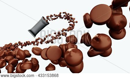 Chocolate Chips Spilling Out From Snack Wrapper Pack In 3d Illustration, Pile Of Multiple Morsels Ca
