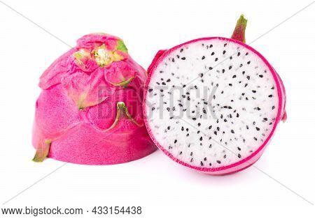Dragon Fruit Isolated On White Background. Slice Of Fresh Pitaya Or Pitahaya Fruit With Clipping Pat