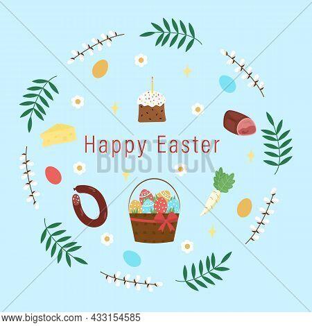 Easter Symbols Basket With Eggs, Cake, Sausage, Ham, Cheese, Horseradish. Vector Illustration
