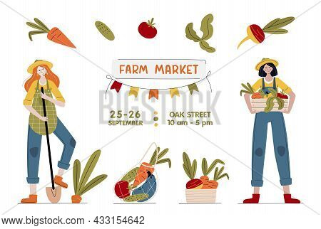 Farm Market Banner. Farmer Women With Vegetables In Modern Style. Harvest Festival Or Eat Local Conc