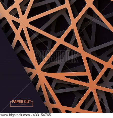 3d Realistic Backdrop With Cutout Copper And Black Color Stripes Entangled Web. Abstract Luxury Back