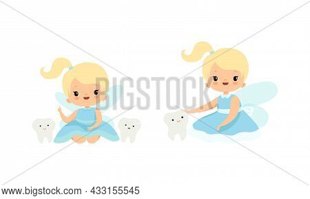 Cute Little Tooth Fairy With Blond Hair And Ponytail Sitting With First Baby Tooth Vector Set