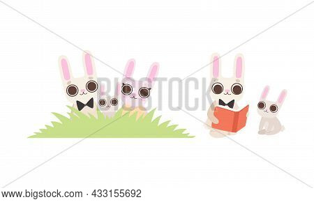 Cute Hare Family With Mother, Father And Cub Sitting In Grass And Reading Book Vector Set