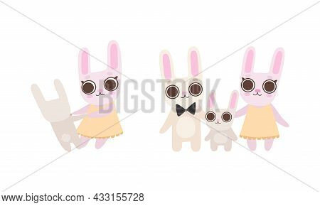 Cute Hare Family With Mother, Father And Cub Holding Paws And Standing Vector Set