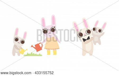 Cute Hare Family With Mother, Father And Cub Watering Plant And Playing Vector Set