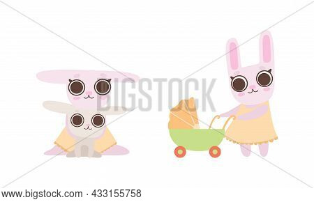 Cute Hare Family With Mother Playing With Cub And Walking With Baby Carriage Vector Set