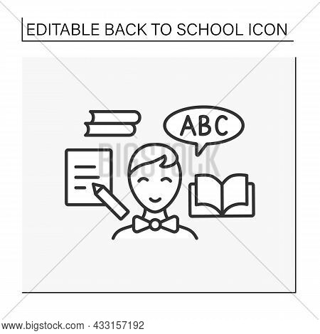 Reading Line Icon. Happy Schoolboy Ready To School. Reading And Writing Lesson. Education Concept. I