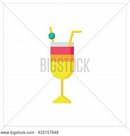 Cocktail Flat Icon. Alcohol Stemware. Party Drink. Restaurant, Bar Menu. Summer Long Drink. Cocktail