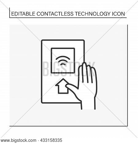 Modern Technology Line Icon. Touchless Subway Pass. Contactless Technology Concept. Isolated Vector