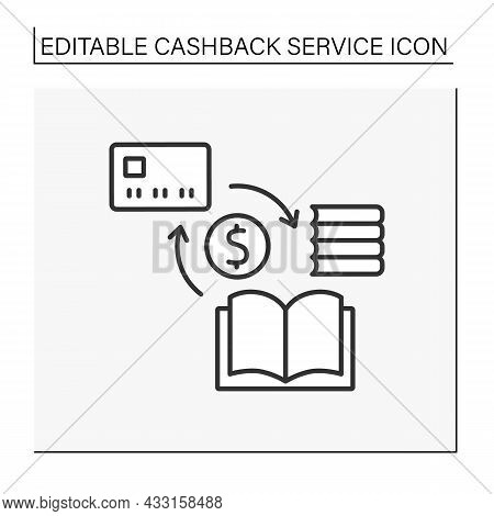 Purchase Line Icon. Cashback And Discount From Book Buying Refund Money On Credit Card.cashback Serv