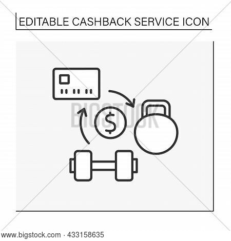Service Line Icon. Refund Money From Fitness Centers Or Sports Stores. Collect Percentages On Credit