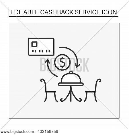 Service Line Icon. Reimbursement Money From Ordering In Restaurant. Profitable Deal Between Consumer