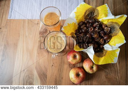 Top View Of Fall Themed Still Life With Roasted Chestnuts