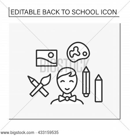 Schoolboy Line Icon. Back To School. Happy Student Draw. Imagination. Draw With Pencils. Education C