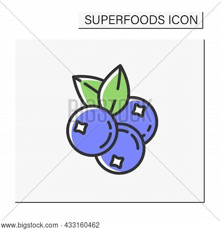 Blueberries Color Icon. Superfood. Organic Healthy Energetic Food For Balanced Nutrition. Detox And