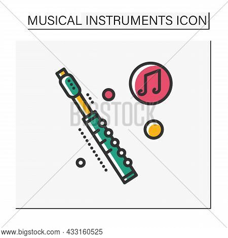 Flute Color Icon. Classical Woodwind Orchestral Musical Instrument. Classical, Ethnic And Modern Mus