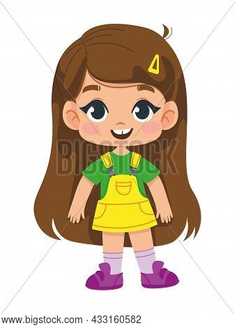 Cartoon Girl With Long Blond Hair In Anime Style. Child Toddler In A Yellow Sundress And Sneakers. V