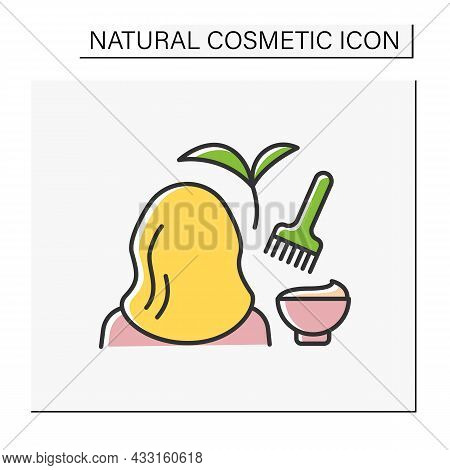 Hair-dyeing Color Icon. Hair Coloring With Organic Ingredients. Woman Doing Beauty Procedure At Salo