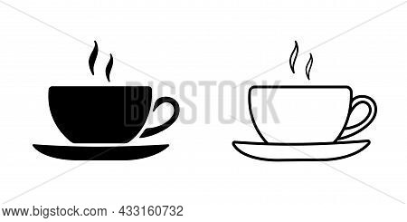 Cup Of Coffee Icon Template Black Color Editable. Coffe Cup Symbol Vector Icon Isolated On White Bac